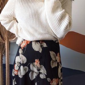 Vintage Dark Floral Silk Button Up Maxi Skirt
